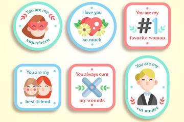 6款可爱母亲节快乐徽章矢量素材