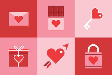 8款红色爱心元素矢量素材