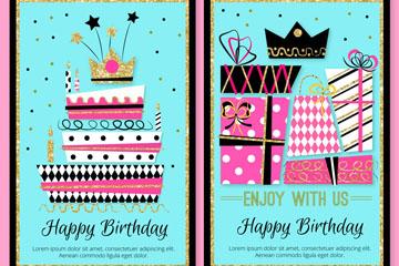 2款时尚生日派对邀请卡矢量素材