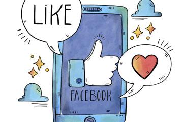 彩绘手机脸书点赞插画矢量素材