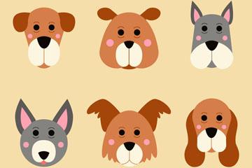 6款可爱狗头像矢量素材