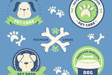 5款手绘宠物狗标志矢量素材