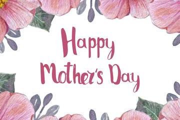 水彩绘母亲节粉色花卉贺卡矢量素材