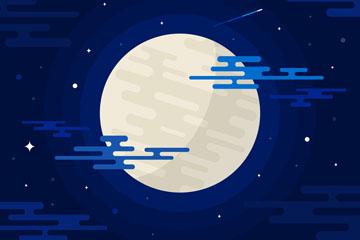 创意夜晚明亮的月亮和蓝色夜空矢