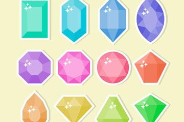 12款彩色宝石贴纸矢量素材