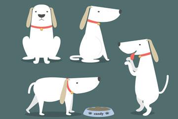 5款可爱宠物狗动作矢量素材