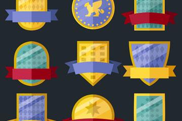 9款扁平化丝带盾牌矢量素材
