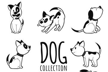 8款可爱宠物狗动作矢量素材