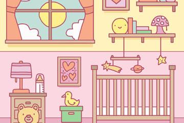 彩绘可爱儿童房布置矢量素材