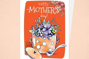 手绘汤锅里的花束母亲节祝福卡矢量图
