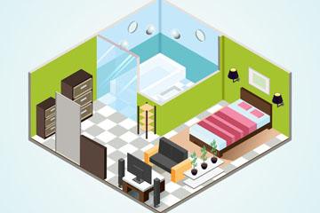 3D创意立体房屋内部图矢量素材