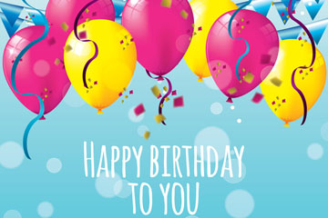创意生日气球和彩色纸屑祝福卡矢