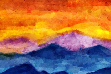 水彩绘夕阳下的山脉风景矢量素材
