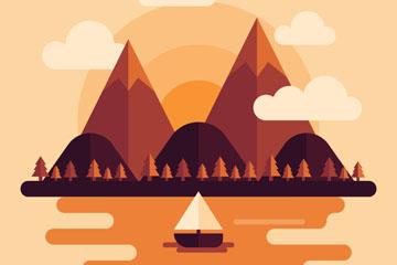 创意山与河流风景矢量素材