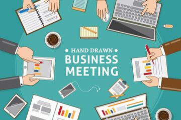 手绘商务会议中的办公桌矢量素材