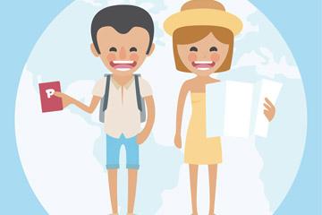 卡通海外旅行的情侣矢量素材