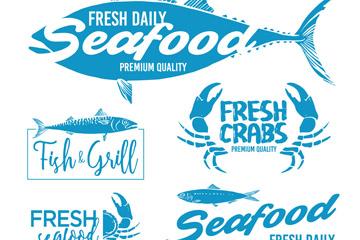 6款蓝色海鲜标志矢量素材
