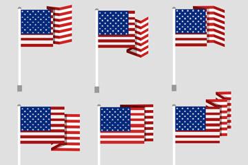 6款创意美国国旗矢量素材