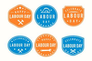 6款彩色劳动节标签矢量素材