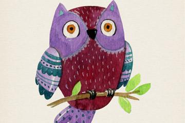 水彩绘树枝上的猫头鹰矢量素材
