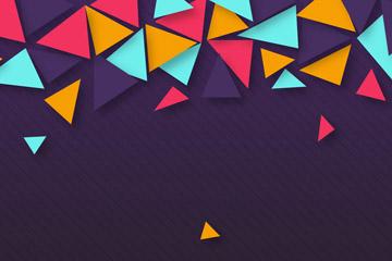 质感彩色三角形背景矢量梦之城娱乐