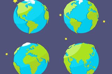 4款美丽蓝色地球矢量素材