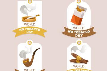 4款创意世界无烟日吊牌矢量素材