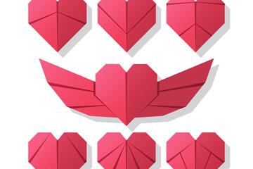7款红色折纸爱心矢量素材