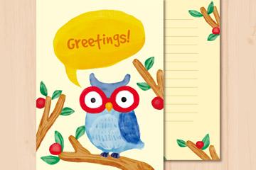 彩绘树干上的猫头鹰祝福卡矢量图