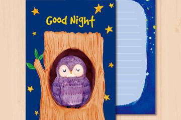 彩绘树洞里的猫头鹰晚安卡矢量素