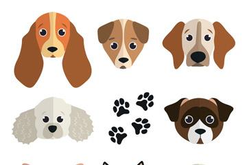 8款可爱狗头像矢量素材