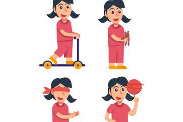 4款创意黑发玩耍女孩矢量素材