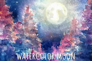 水彩绘森林上的月亮风景矢量图