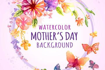 水彩绘母亲节花环和蝴蝶矢量素材