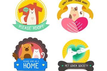 4款彩色关爱流浪动物标签矢量素材