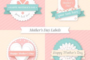 4款清新质感母亲节标签矢量素材