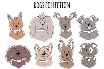 12款手绘宠物狗头像矢量素材