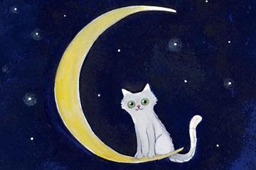 彩绘月牙上的白色猫咪矢量图