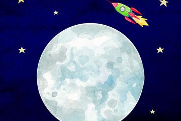 创意太空中的月球和火箭矢量图
