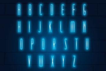 26个蓝色霓虹灯字母和10个数字矢