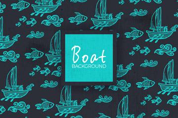 蓝色海上帆船无缝背景矢量图