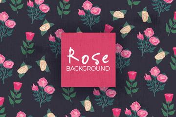 彩绘玫瑰花枝无缝背景矢量素材