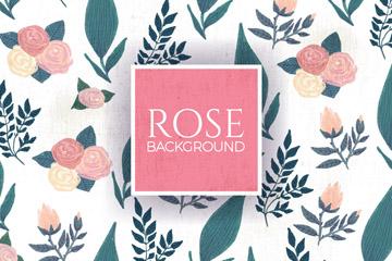 彩绘玫瑰花和树叶无缝背景矢量图