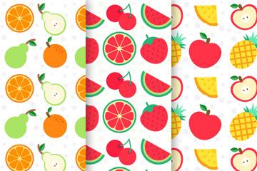 3款彩色水果无缝背景矢量梦之城娱乐