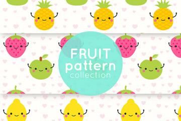 3款可爱表情水果无缝背景矢量素