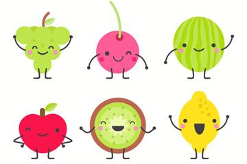 6款可爱笑脸表情水果矢量素材