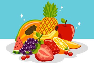 美味新鲜水果堆矢量素材