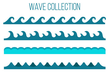 6款蓝色海浪设计矢量素材