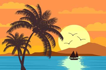 夕阳下的海滩风景矢量齐乐娱乐