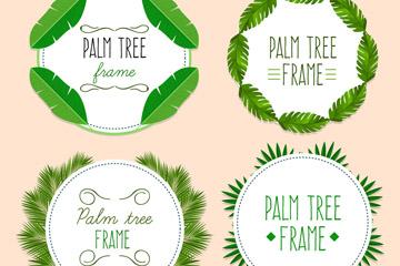 4款创意绿色棕榈树叶框架矢量图